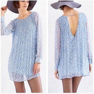 UO Kimchi Blue Chiffon Floral Pintuck Shift Dress